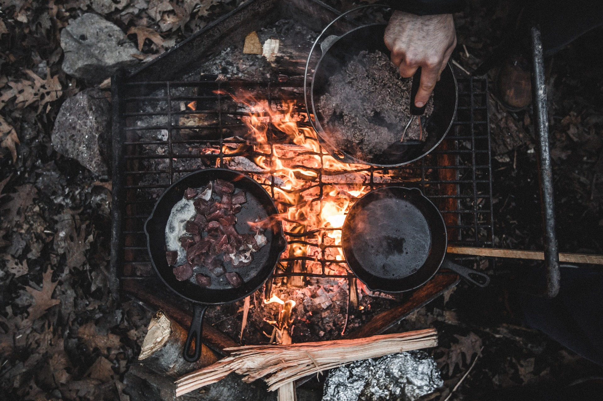 Cooking food in camping trip