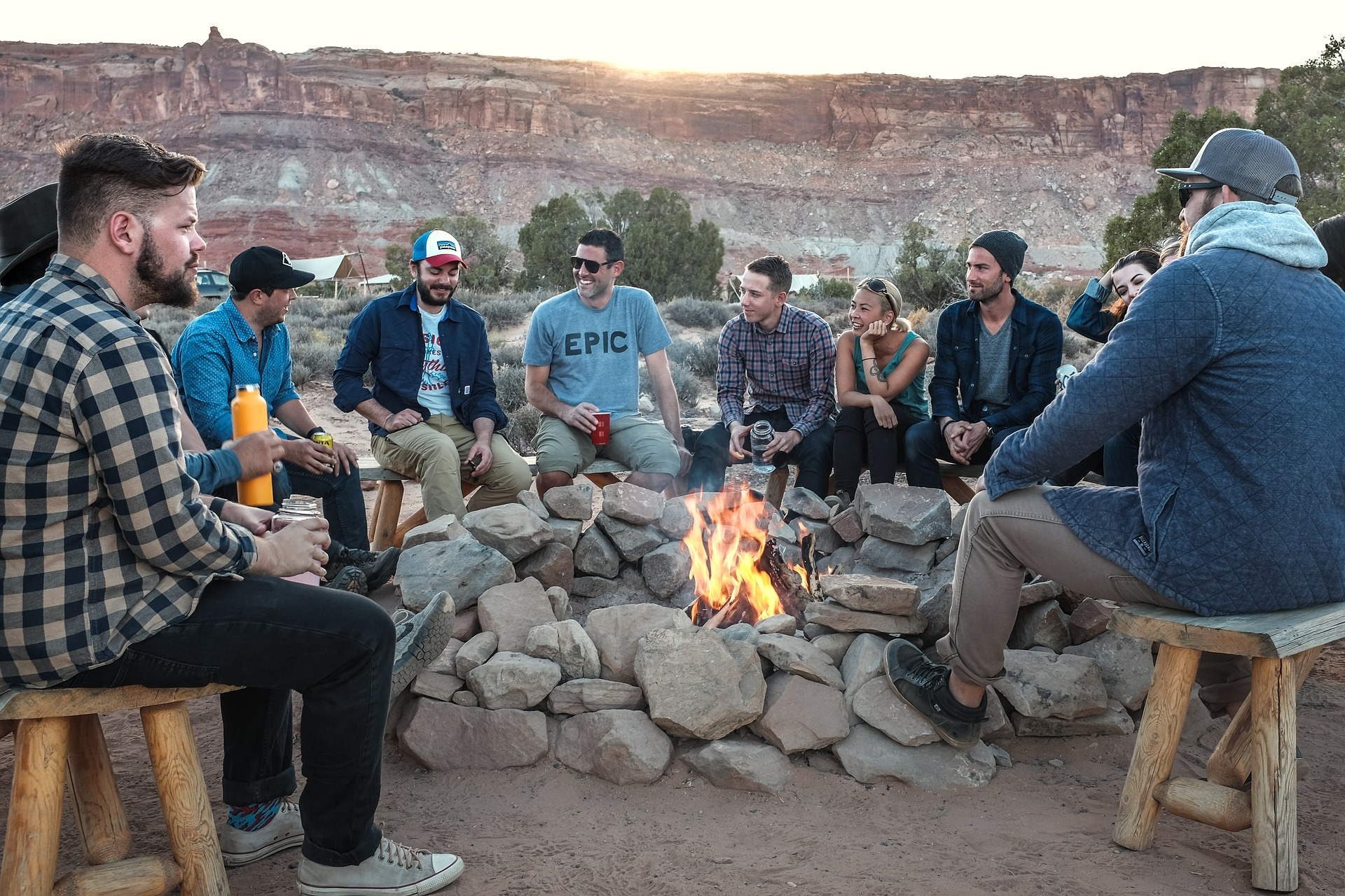 Group of people enjoying their camping together.