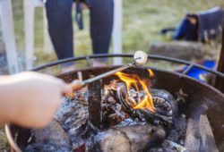 Preparing food while Camping Outdoor